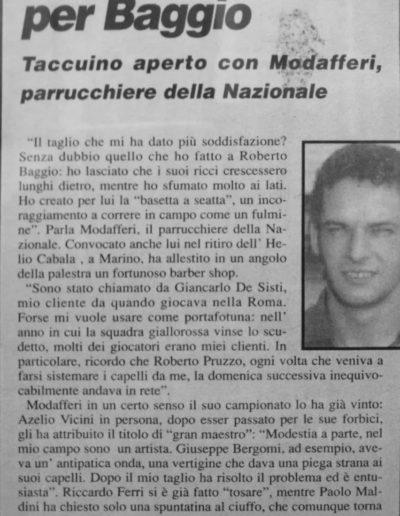 articolo Gianni modafferi parrucchiere della Nazionale Calcio Italia 90